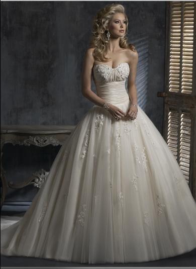 Ball Sweetheart Strapless Appliqued Beaded Tuller Custom made Wedding Dress