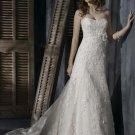 A-line Scoop Neckline Strapless Appliqued Beaded Custom made Wedding Dress