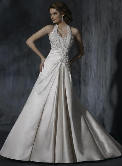 Sexy Backless Halter Appliqued Beaded Custom made Taffeta Wedding Dress