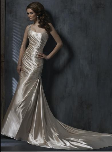 Sexy Sheath one-shoulder Custom made Taffeta Wedding Dress