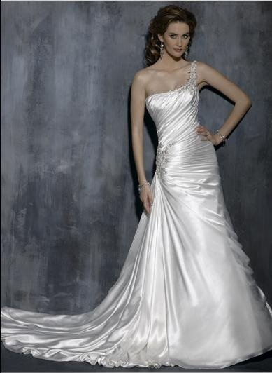 one Shoulder  Appliqued Beaded Taffeta Custom made Wedding Dress