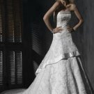 Custom made A-line Straight Neckline Appliqued Beaded Wedding Dress