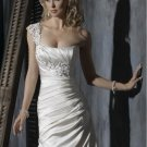 Custom made Sheath Appliqued Beaded One-shoulder Wedding Dress