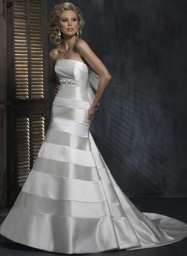 Mermaid Straight Neckline Strapless Beaded Bridal Gown