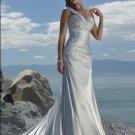 One Shoulder Appliqued Beaded Satin Wedding Dress Bridal Gown