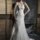 Sweetheart Neckline Strapless Appliqued Beaded Tuller Wedding Dress Bridal Gown