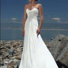 V-neckline Beaded Strapless Chiffon Wedding Dress Bridal Gown