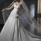 Sweetheart Neckline Appliqued Beaded Lace-up Taffeta Wedding Dress Bridal Gown