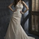 Sheath Scoop Neckline Beaded Strapless Taffeta Wedding Dress Bridal Gown