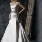 Scoop Neckline Beaded Satin Wedding Dress Bridal Gown