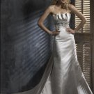 Straight Neckline Strapless Appliqued Beaded Train Taffeta Wedding Dress Bridal Gown
