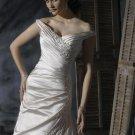 Off-shoulder V-neckline Appliqued Beaded Lace-up Taffeta Wedding Dress Bridal Gown