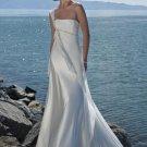 One Shoulder Beaded Chiffon Wedding Dress Bridal Gown