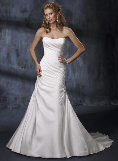 Sheath Scoop Neckline Strapless Chiffon and Satin Wedding Dress Bridal Gown