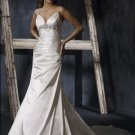 Mermaid Spaghetti Strap Deep V-neckline Appliqued Beaded Wedding Dress Bridal Gown