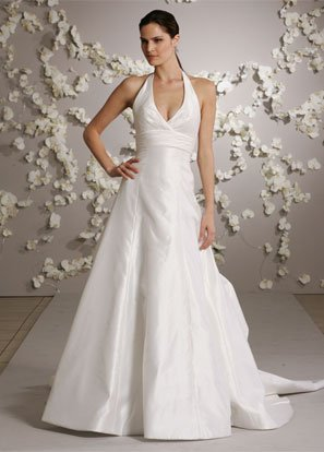 Halter Backless Taffeta Wedding Dress Bridal Gown