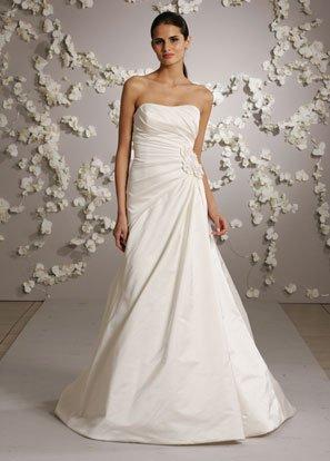 Scoop Neckline Strapless Backless Taffeta Wedding Dress Bridal Gown