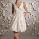 Mini V-neckline Taffeta Wedding Dress Bridal Gown
