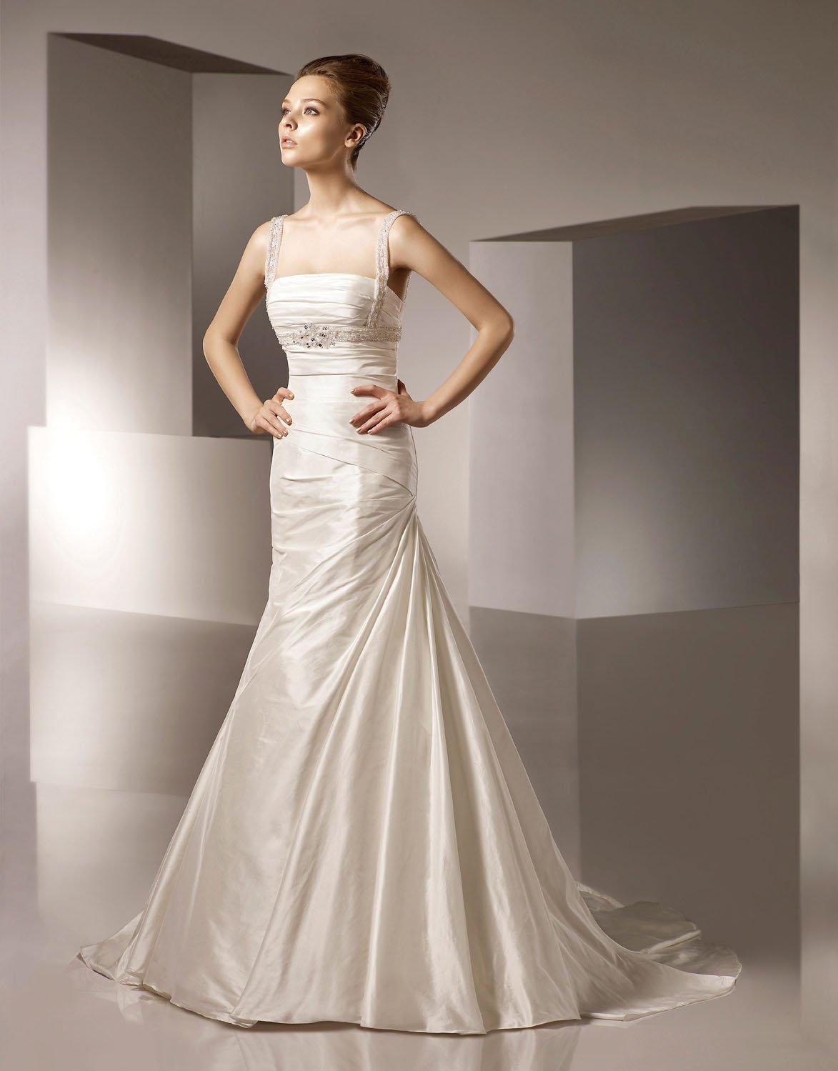 Straight Neckline Beading Detachable Strap Taffeta Wedding Dress Bridal Gown