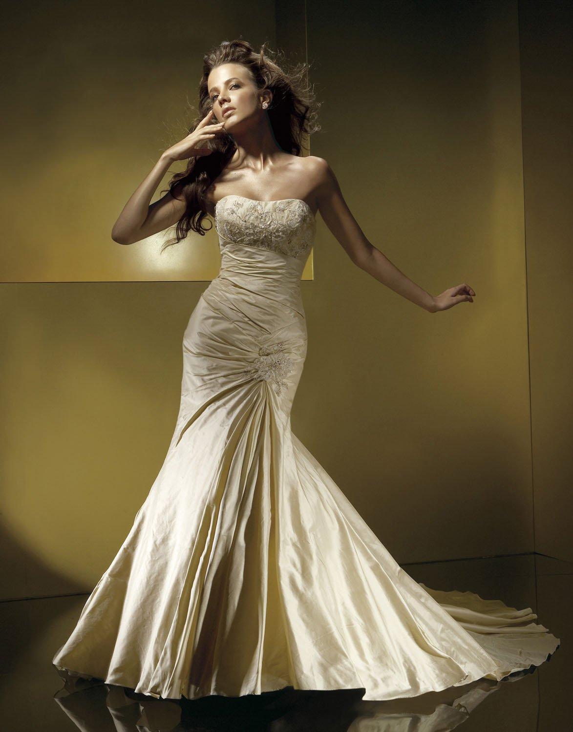 Mermaid Scoop Neckline Appliqued Beading Taffeta Wedding Dress Bridal Gown aq0030