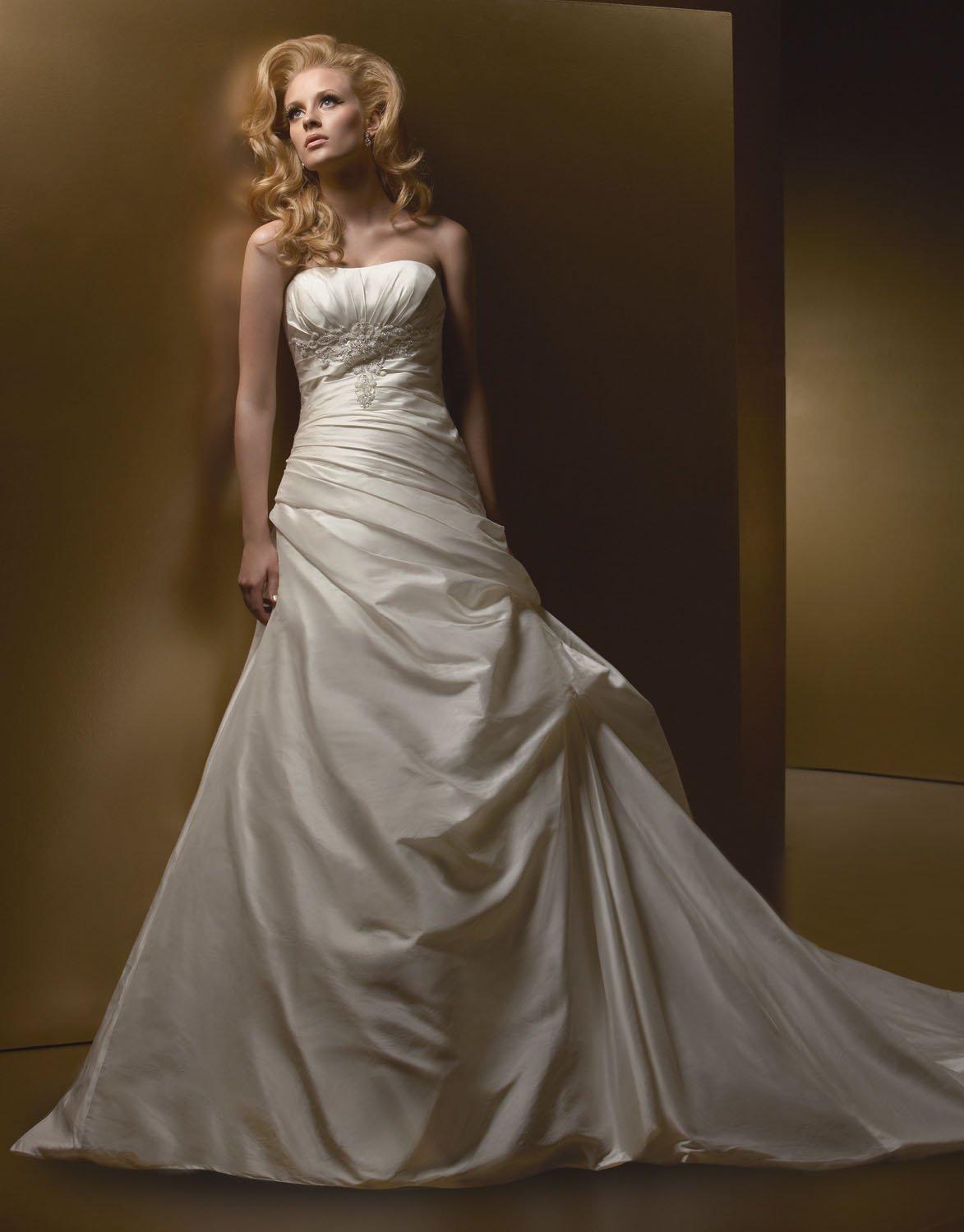 A-line Scoop Neckline Appliques Taffeta Wedding Dress Bridal Gown aq0031