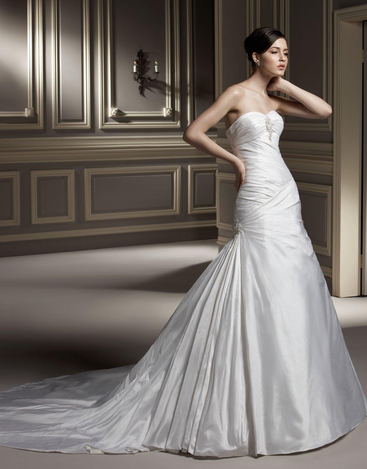 Sweetheart Strapless Beaded Train Taffeta Wedding Dress Bridal Gown aq0033
