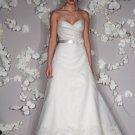 A-line V-neckline Appliqued Beading Organza Wedding Dress Bridal Gown JH003