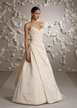 Floor-length Spaghetti Strap Backless Taffeta Wedding Dress Bridal Gown JH004