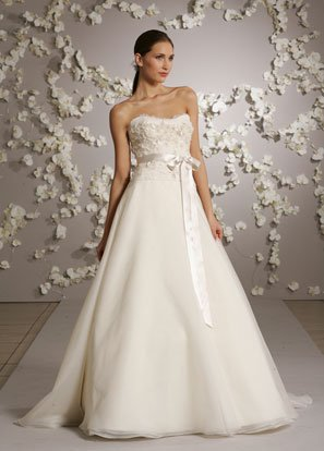A-line Scoop Neckline Appliques Beading Organza Wedding Dress Bridal Gown JH006