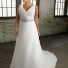 Cap sleeve Beading Chiffon Plus Size Wedding Dress 2012