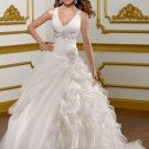 Deep V-neck Cap Sleeve Beaded Applique Organza Ball Gown 2012 Wedding Dress