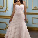 A-line Sweetheart Beading Appliques Chiffon 2012 Plus Size Wedding Dress
