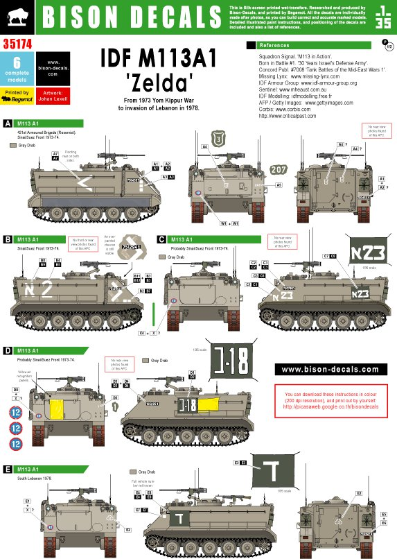 bison decals 1 35 idf m113a1 39 zelda 39 35174. Black Bedroom Furniture Sets. Home Design Ideas