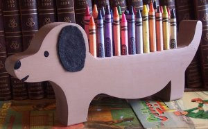 dachshund dog crayon holder wood hand painted