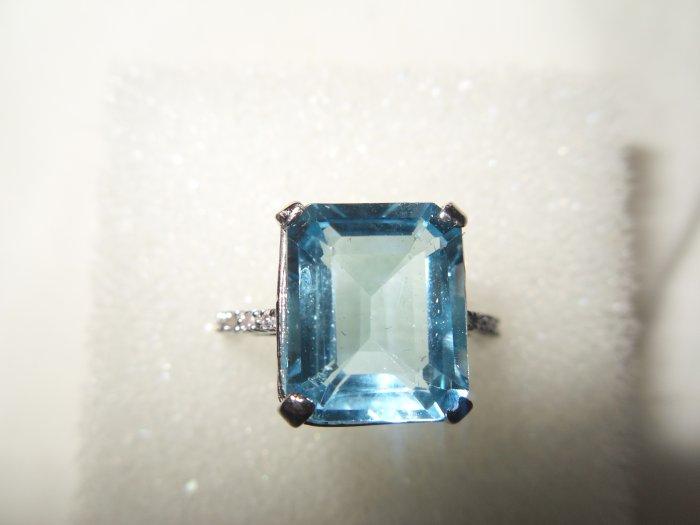 10K White Gold 0.06ctw Diamond 7ctw Topaz Ring-Size 7-New