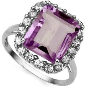 10K White Gold 5.6ctw Amethyst and 0.72ctw Topaz Ring - Size 7-New