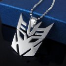 Transformers Decepticon Silver Stainless Steel Pendant Necklace Chain