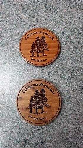 Redwood Coaster Circle Laser Engraved #4582