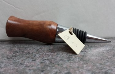 Hand Turned Smooth Edge Redwood Wine Stopper #1006b