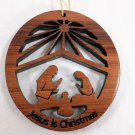 Nativity Ornament Laser Redwood Handcrafted #1059L HWP