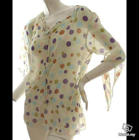 VINTAGE 70S INSPIRED models off duty style fashion clothing COLORFUL DOTS SHEER CHIFFON TOP USA 6/8