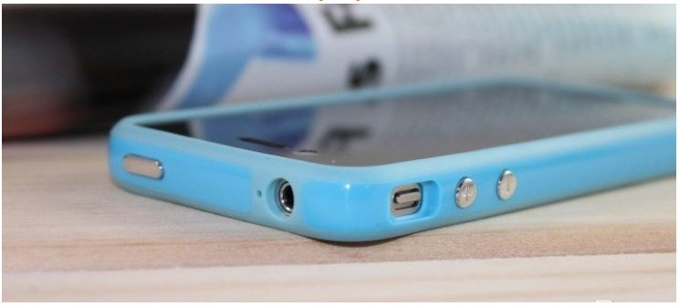 OEM SILICONE APPLE BUMPERS CASE FOR IPHONE 4 - BLUE