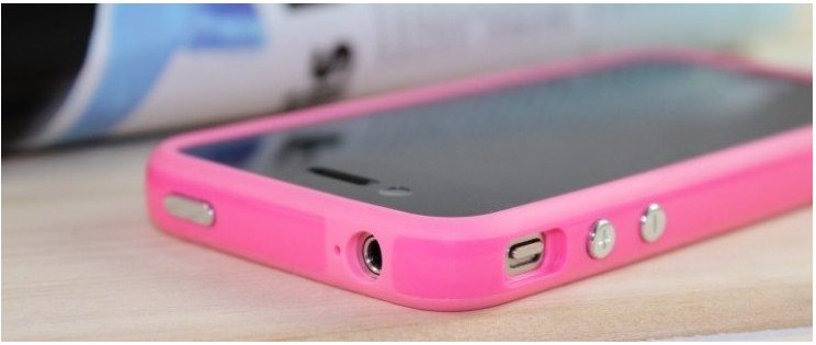 OEM SILICONE APPLE BUMPERS CASE FOR IPHONE 4 - PINK
