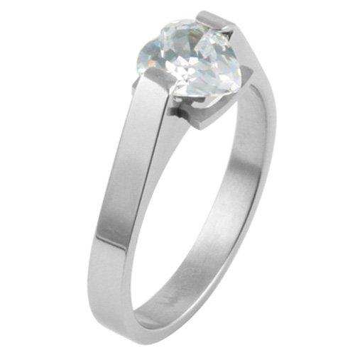 1.5-CARAT DIAMOND HEART SHAPED TITANIUM RING SIZE 5