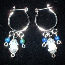 Silver Hoop Earrings with Opalite & Azurite