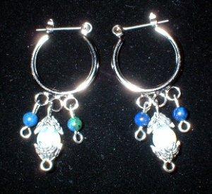Silver Hoop Earrings with Opalite & Azurite