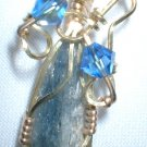 Brass Wrapped Kyanite Pendant with Swarovski Beads