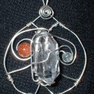 Sterling Silver Tibetan Quartz w/Goldstone and Prehnite Pendant