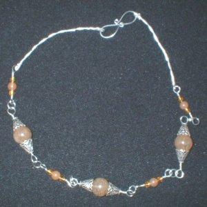 Sterling Silver Included Quartz and Orange Adventurine Necklace