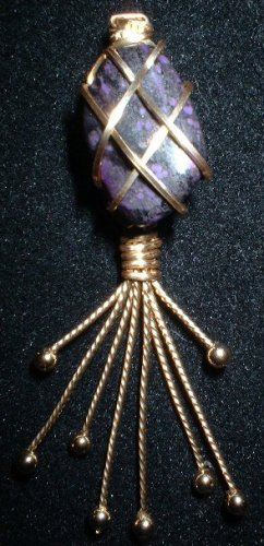 Brass Wrapped Sugilite Pendant